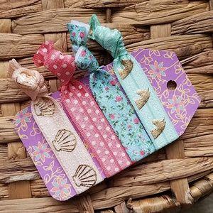 Set of 4 Hair Ties - Pink Floral Unicorn Polka Dot